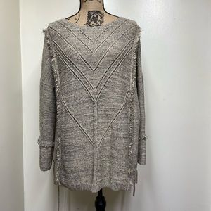 Knox Rose Knit Sweater with Fringe Detail Size XXL